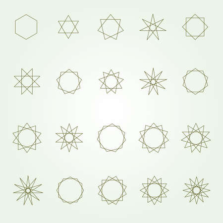 Polygons and poly grams sacred geometry set (variable line)