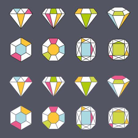 conception facette bijou cristal élément géométrique icône de forme doublée