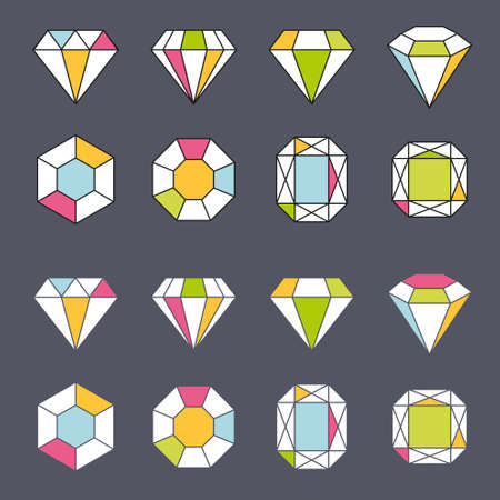 gems: design facet gem crystal geometric shape icon element lined Illustration