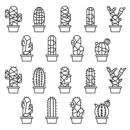 prickly: Cactus collection in illustration