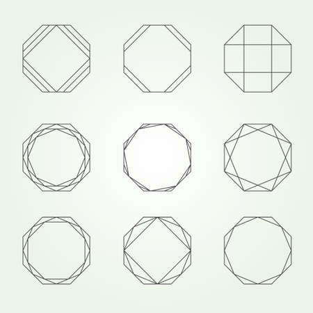 geometric shapes: Octagon in September sacred geometry - Variable line