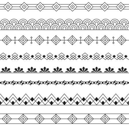line art: Art Deco Borders Line Style Design -variable line- Illustration