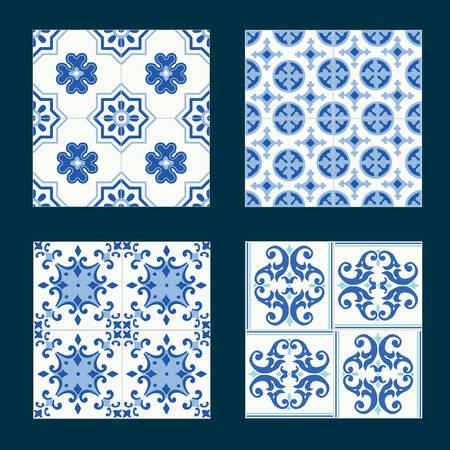 Conjunto de azulejos de cerámica de la vendimia en el diseño de azulejos con patrones de color azul