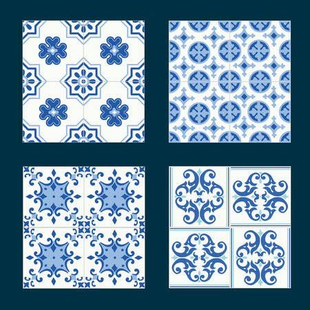 Set of vintage ceramic tiles in tile design with blue patterns