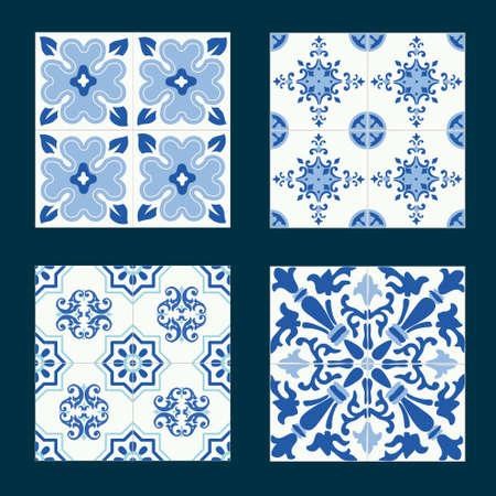 tiles floor: Set of vintage ceramic tiles in tile design with blue patterns