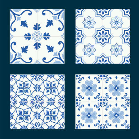 crosscountry: Set of vintage ceramic tiles in tile design with blue patterns