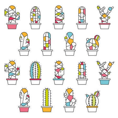 prickly: Cactus flat colorful abstract collection in illustration
