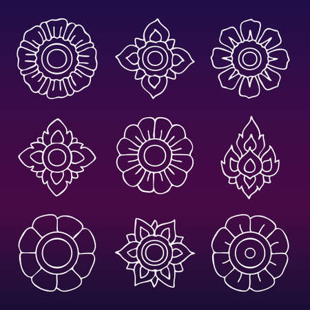 thai motifs: Thai motifs vector. Vintage decorative elements. Hand drawn.