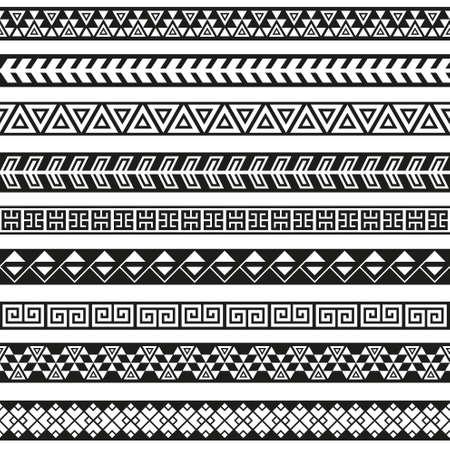 Naadloze vector tribale grenzen. Tribal vintage etnische naadloze achtergrond. Boho mode-stijl patroon Vectores