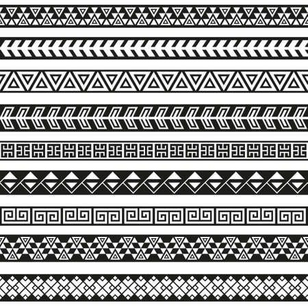 Seamless vector tribal borders. Tribal vintage ethnic seamless backdrop. Boho fashion style pattern