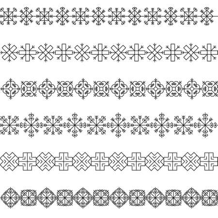 folksy: Variations of the ancient Latvian borders sun vector set -variable line-