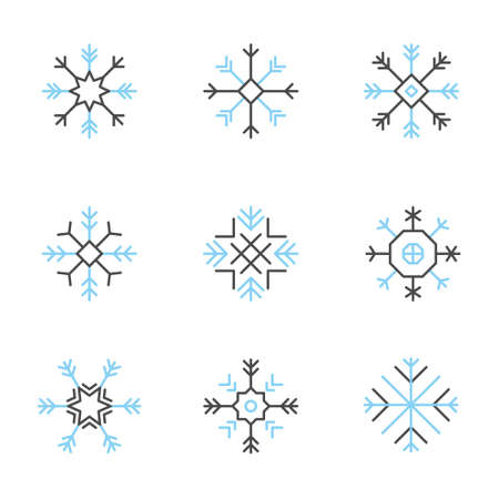 variable: Snowflake icons set -variable line- Illustration