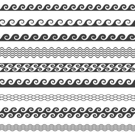 oceanic: Seamless line vector wave pattern borders in September
