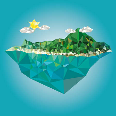 grass land: Island with mountain vector vector illustration low poly style Illustration