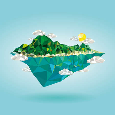 float: Island with mountain low poly style illustration vector Illustration