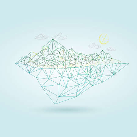 sky clouds: Island with mountain low poly style illustration vector Illustration