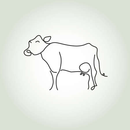 Simple cow icon in black lines