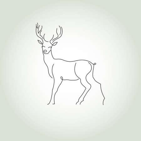 minimal: Deer in a minimal style vector line