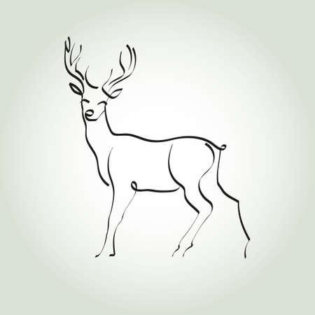 minimal style: Deer in a minimal style vector line