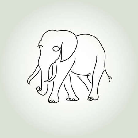 cutaway drawing: Elephant in minimal style vector line