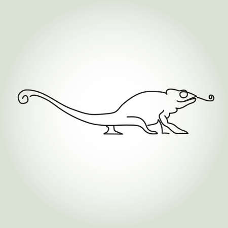 minimal style: Chameleon line in minimal style vector