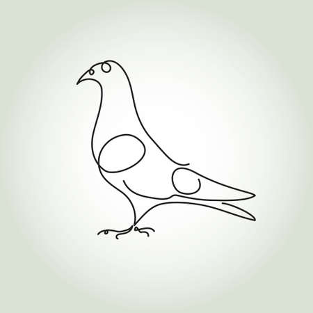 drawing dove: Dove line in minimal style