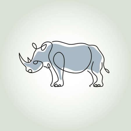 minimal style: Rhinoceros in minimal style vector line