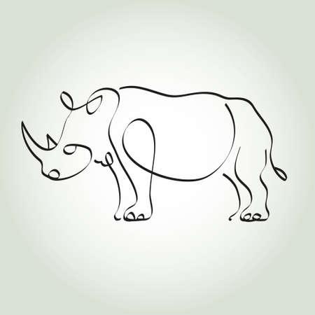 minimal: Rhinoceros in minimal style vector line