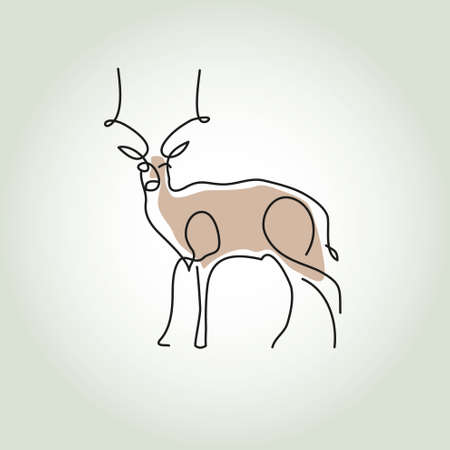 gazelle: Antelope gazelle in minimal style vector line