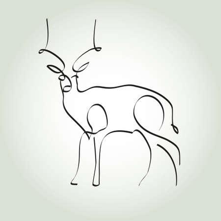 antelope: Antelope gazelle in minimal style vector line