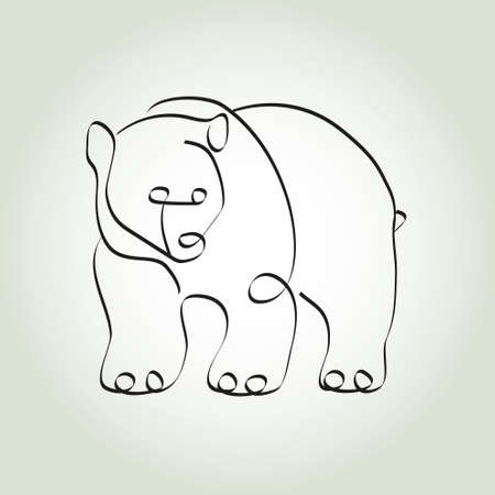 minimal style: Grizzly Bear in minimal style vector line