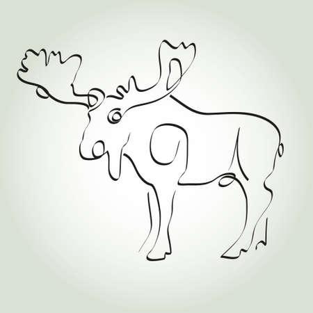 minimal style: Moose in minimal style vector line