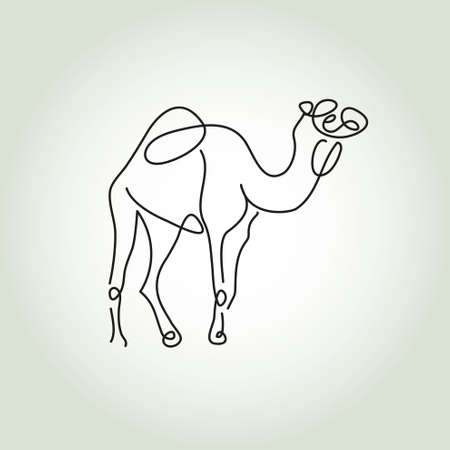 camel hump: Dromedary camel in minimal style vector line