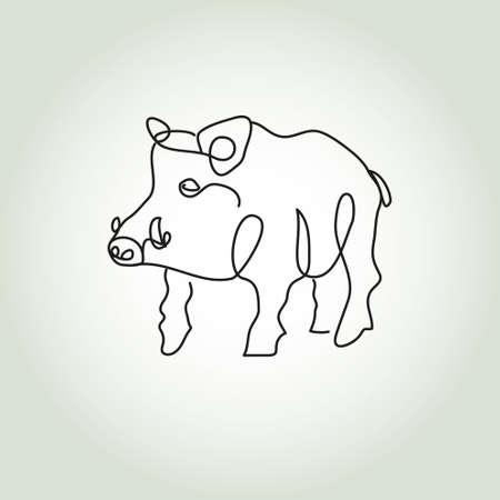 brave of sport: Wild boar pig in minimal style vector line Illustration