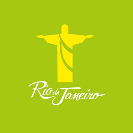 corcovado: signo de Janeiro Brasil icono Vector del cartel