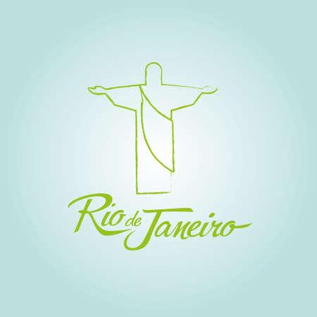 corcovado: Rio de Janeiro Brazil sign poster icon vector