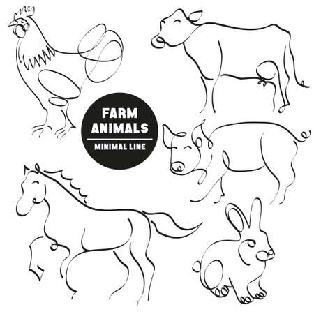 pig with wings: farm animals minimal set of hand drawn pictures Illustration
