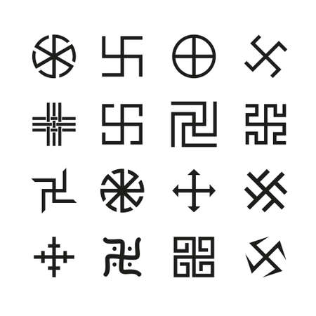 swastika: Swastika, cross and others symbols icons vector set Illustration