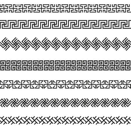 Old greek border designs vector set