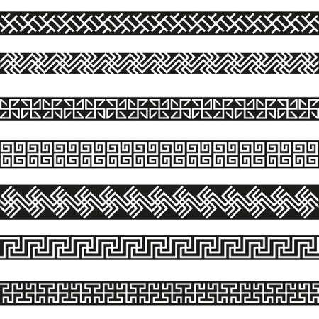 Old greek border designs vector set Illustration