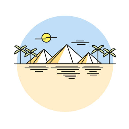 excursions: Egyptian pyramids illustration style flat line
