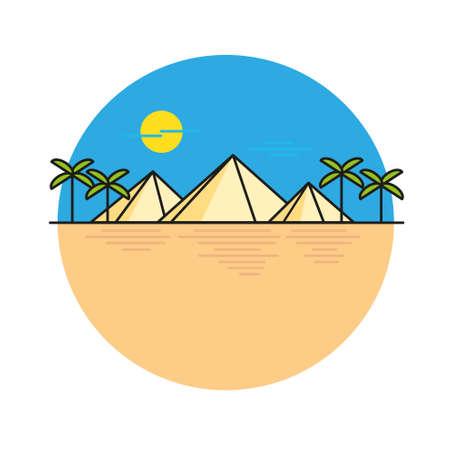 egyptian pyramids: Egyptian pyramids illustration style flat line