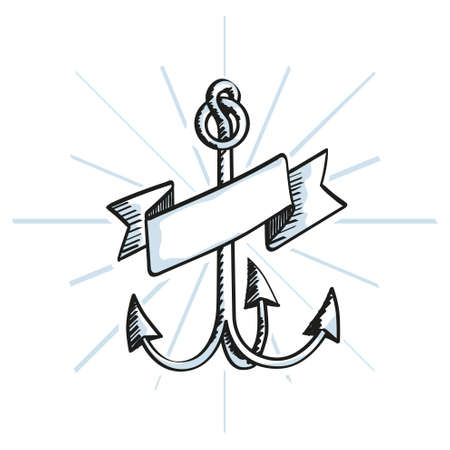 anchored: Hand Drawn Anchor with ribbon