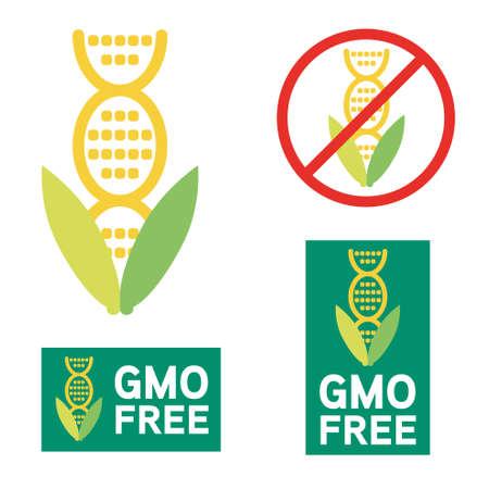 non: GMO free icon symbol design. Non Genetically Modified Organism sign with corn cob vector illustration.