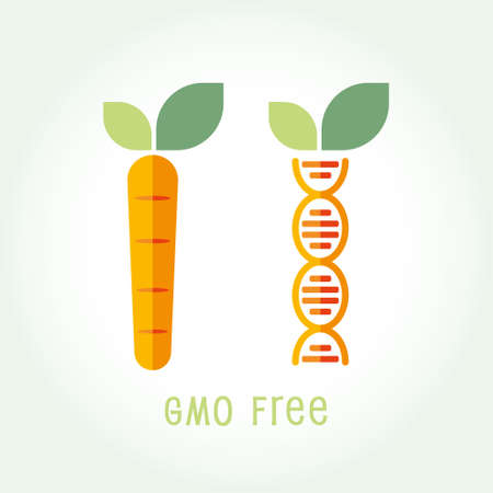 Genetically Modified Organisms GMO FREE emblem symbol icon vector illustration