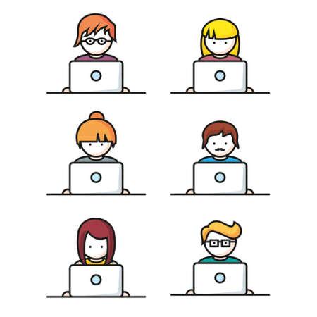 Conjunto de personas con los iconos del ordenador