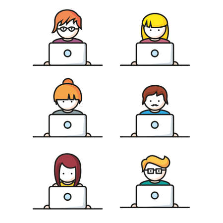 computer icons: Set of people with computer icons Illustration