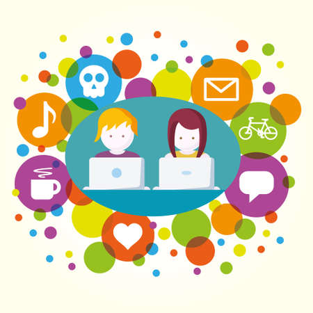 Social Media, people with computers network vector illustration