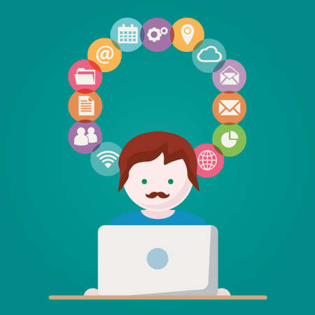 computer network: Person with Computer network vector illustration