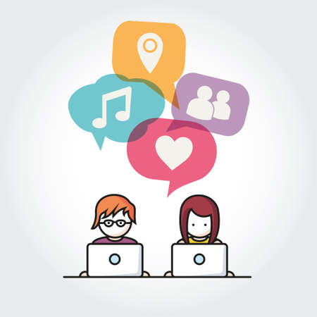 Social Media chat vector illustration people with computers